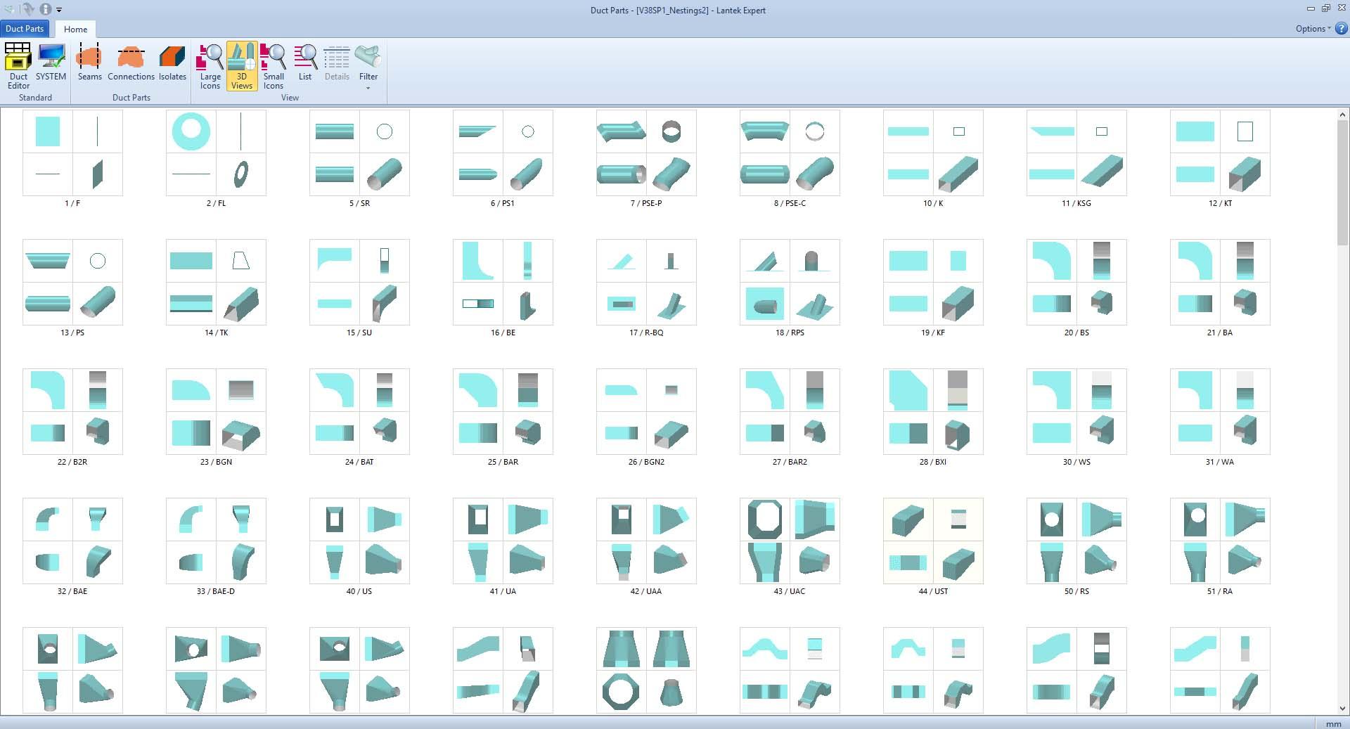 Lantek Expert Duct  - Librería de figuras