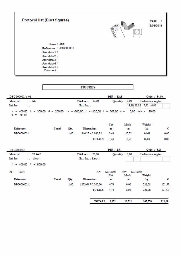 Lantek Expert Duct  - Stampa elenchi