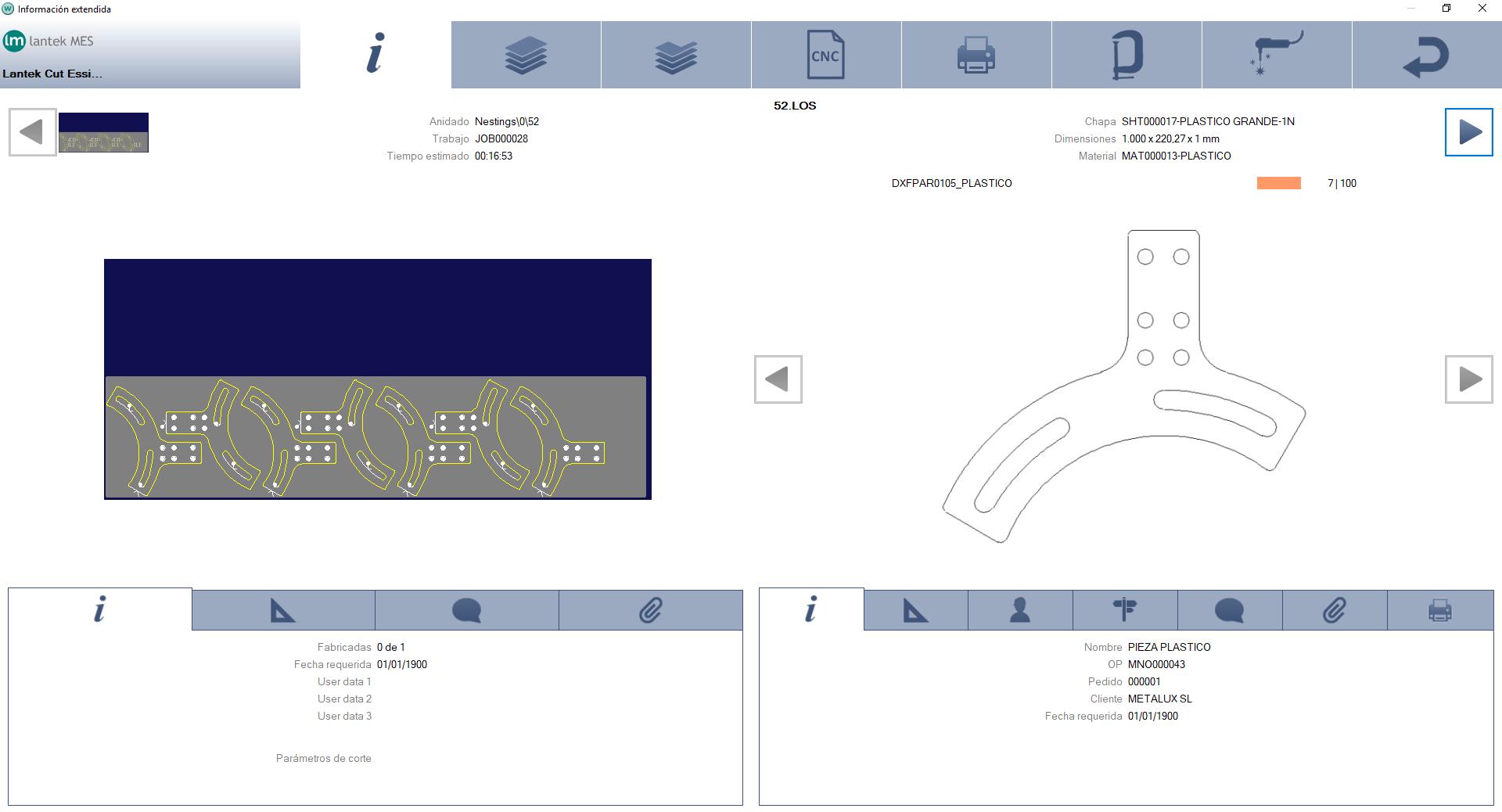Lantek Wos  - 作业视图
