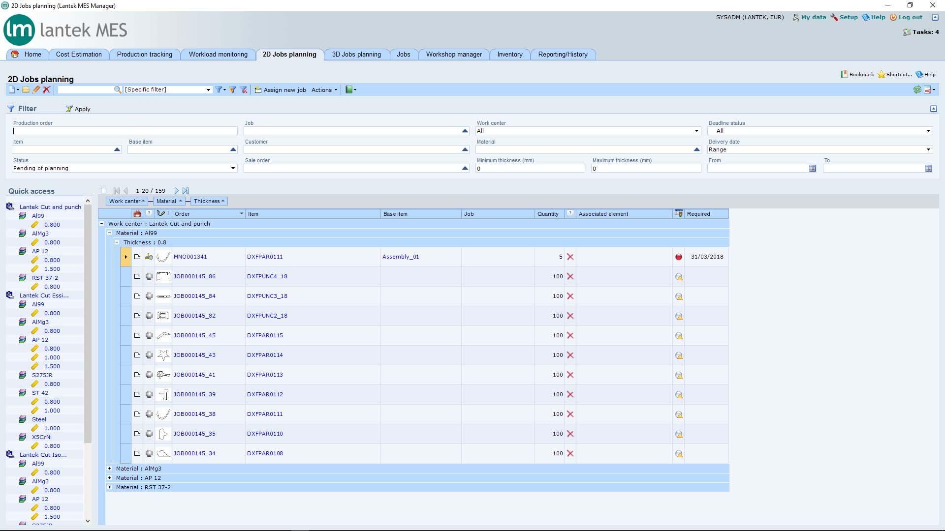 Lantek Manager  - 2D 작업 계획