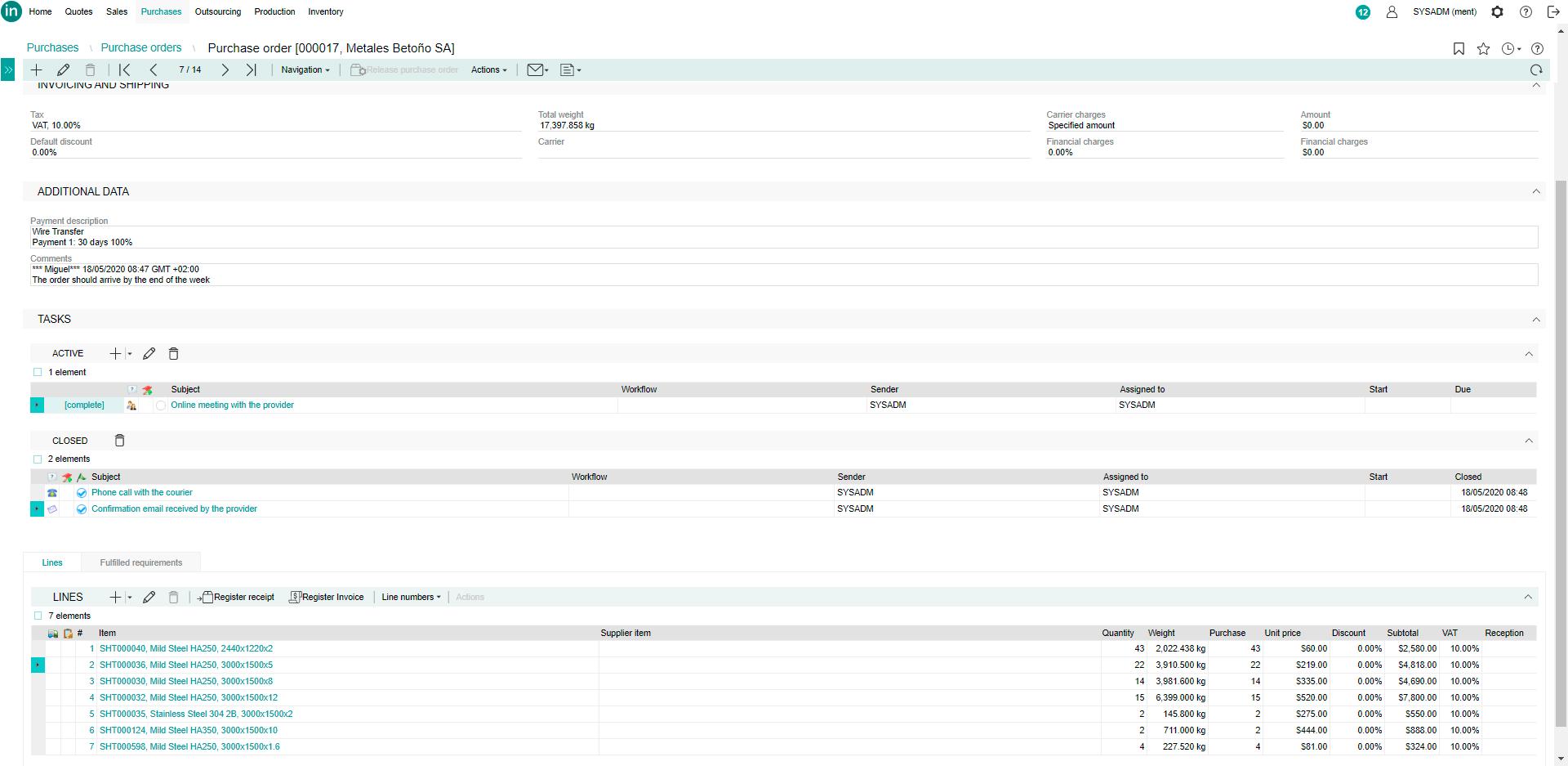 Lantek Integra Purchases  - 采购订单