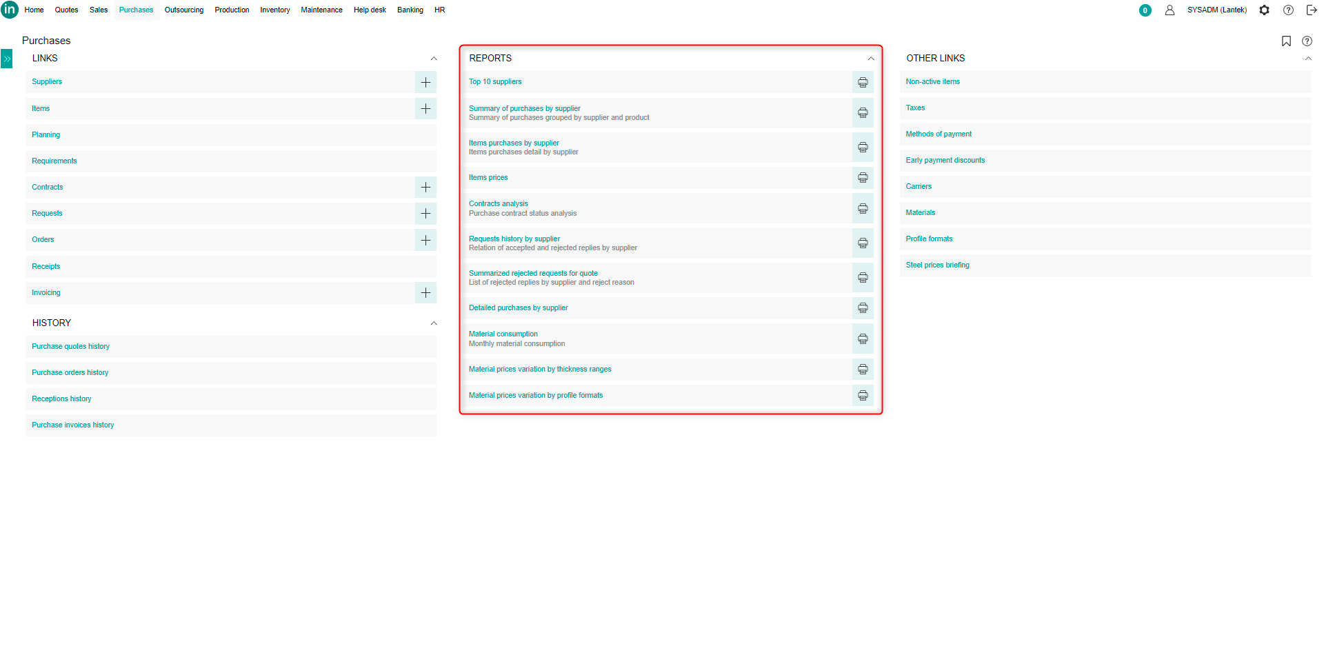 Lantek Integra Purchases  - Indice