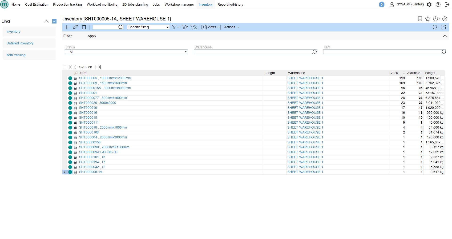 Lantek Integra Inventory  - 자재 목록
