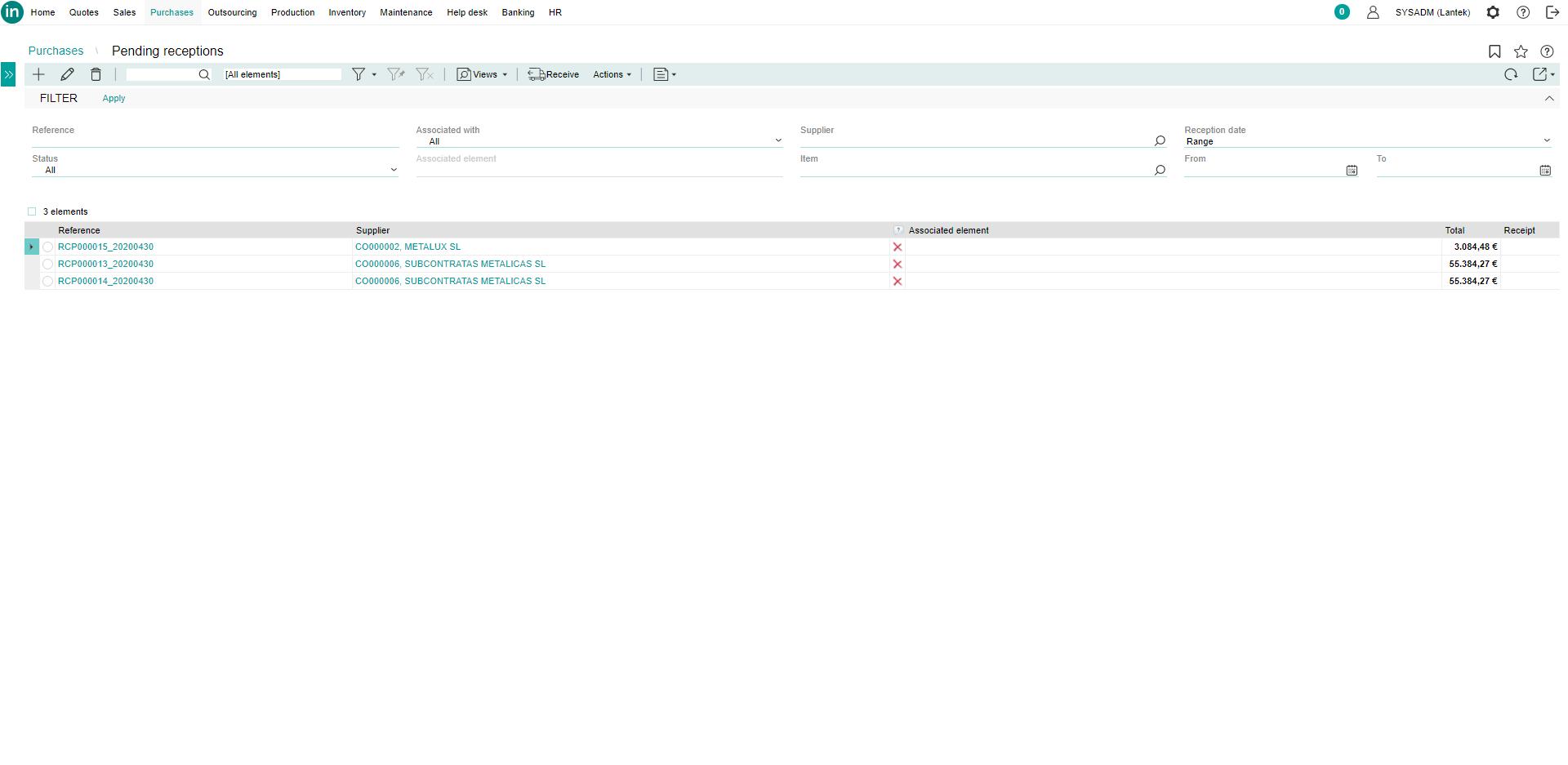 Lantek integra Inventory  - Ausstehende Anlieferungen