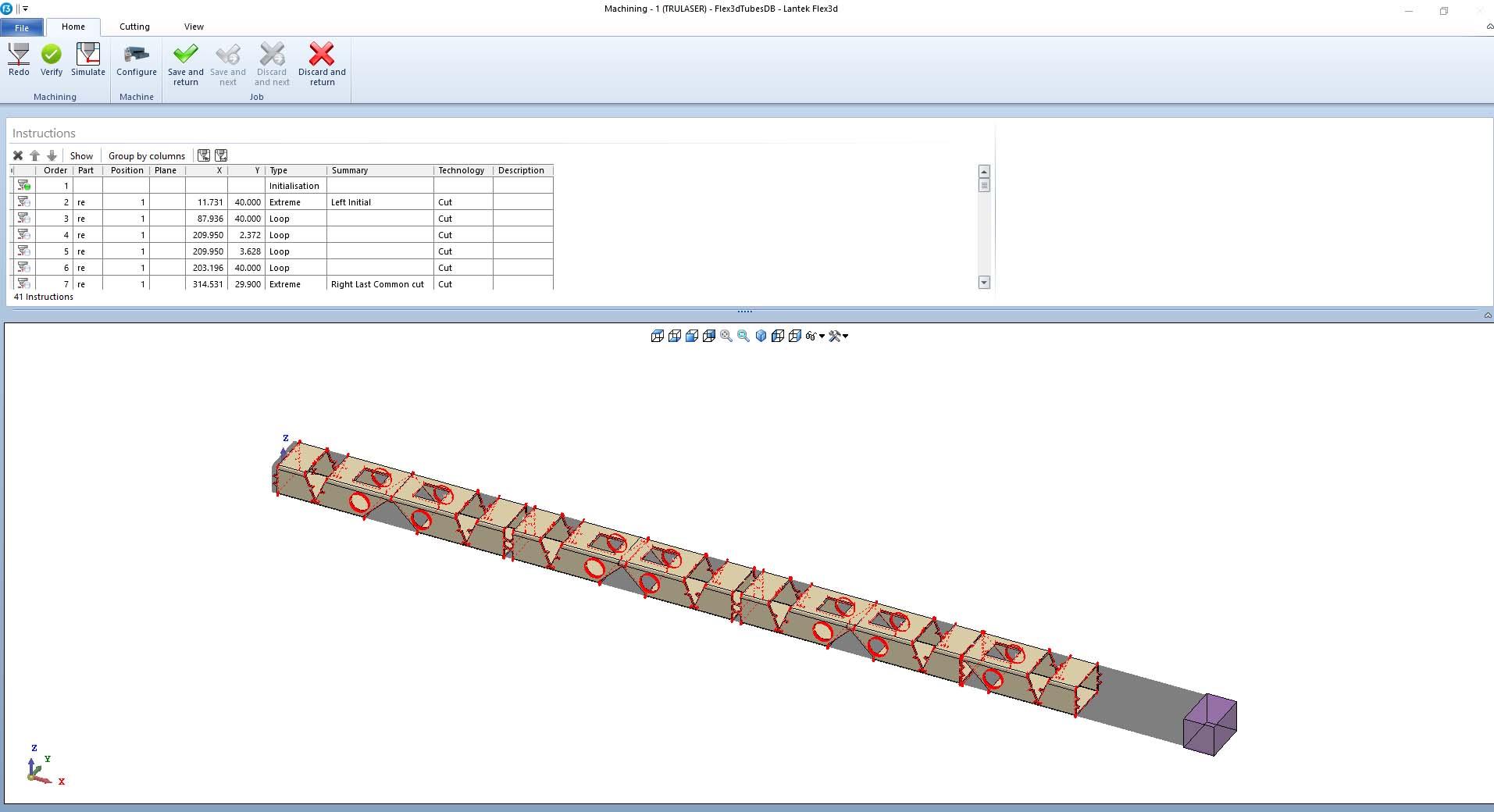 Lantek Expert Tubes  - 시뮬레이션
