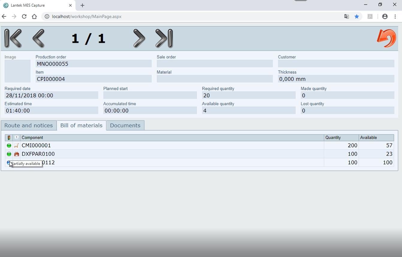 Lantek Workshop Capture  - Validación de operación