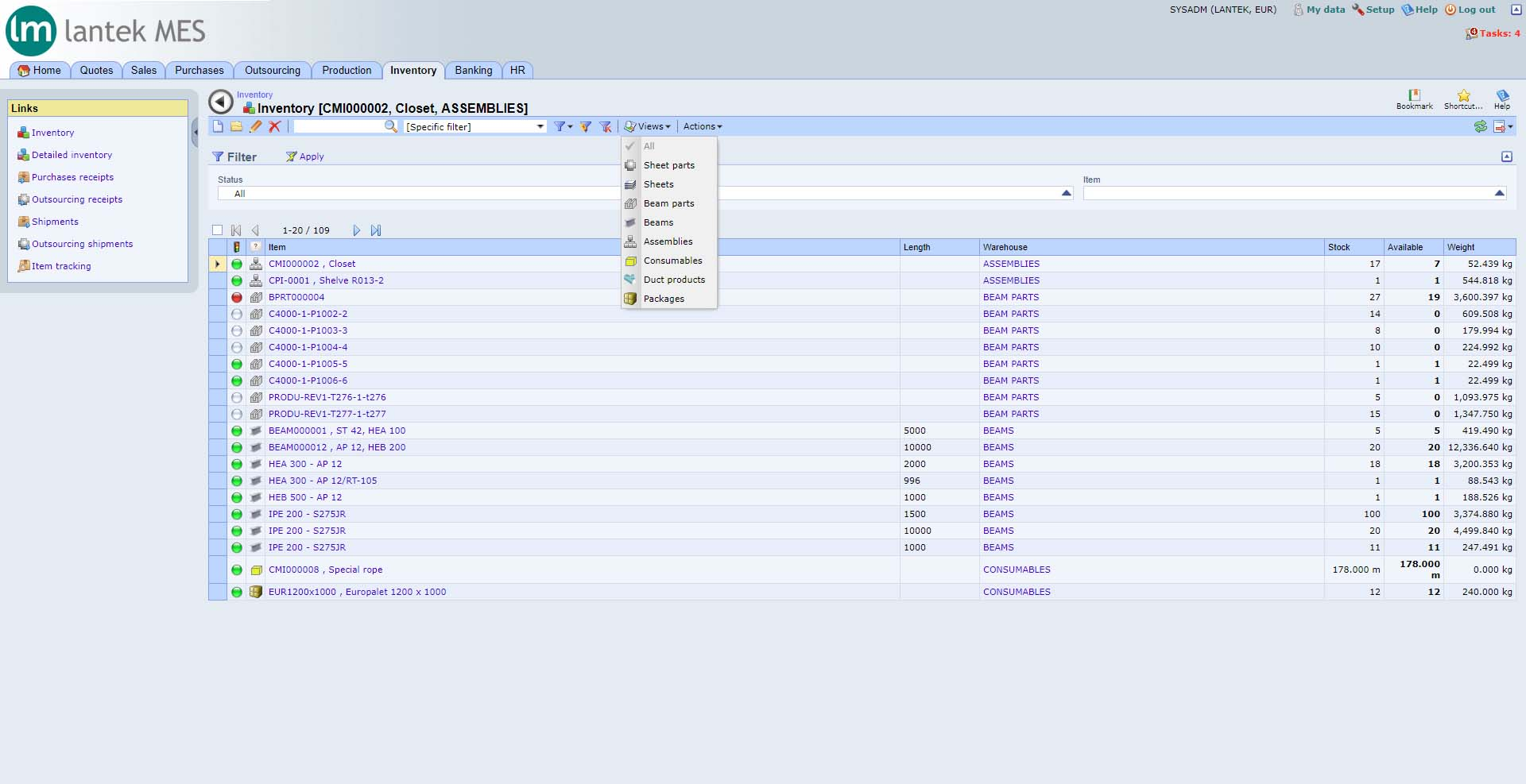 Lantek Integra Inventory  - Sheet inventory