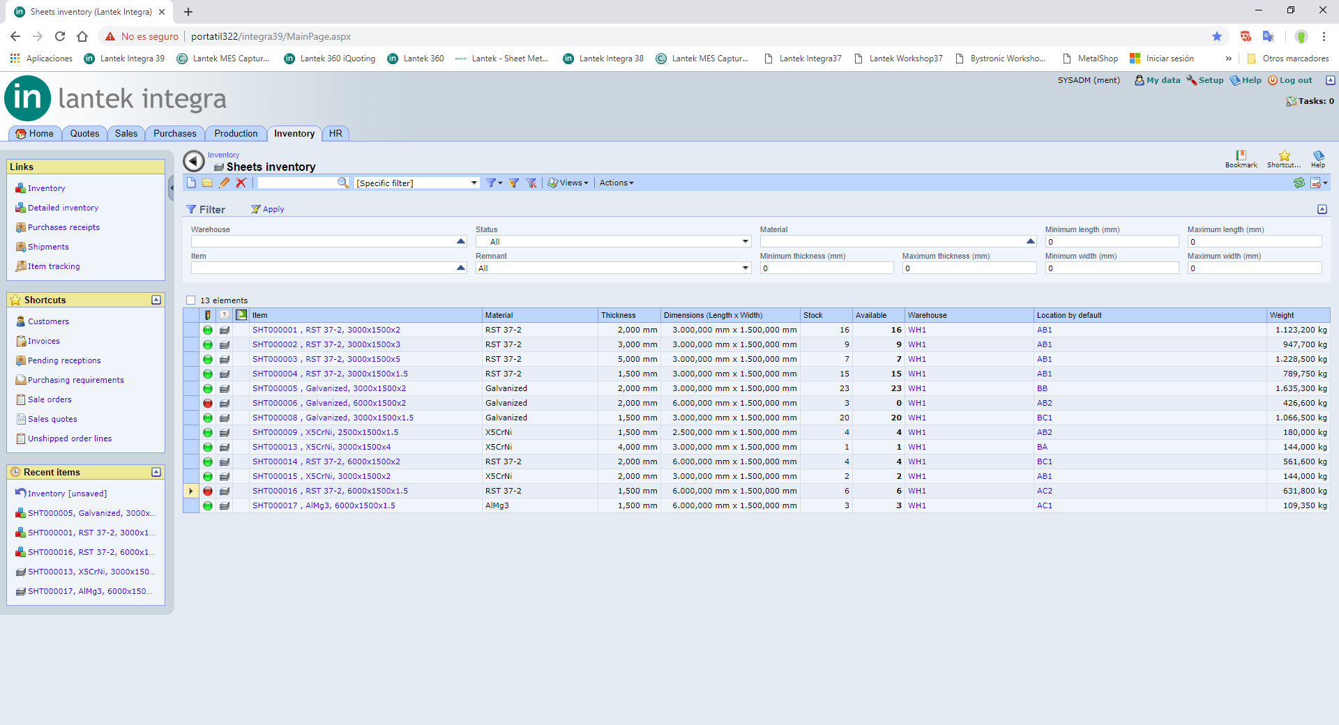 Lantek Integra Inventory  - Mouvements