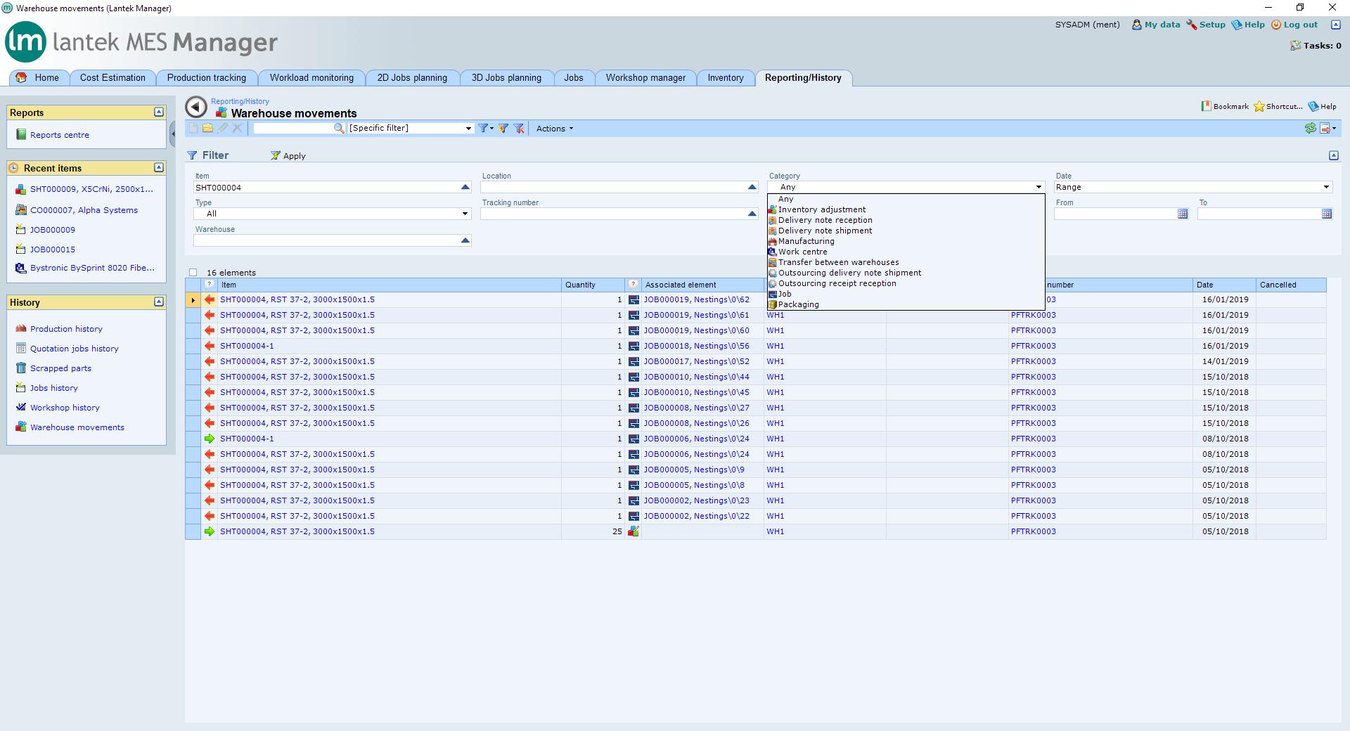 Lantek Integra Inventory  - Struttura di magazzino